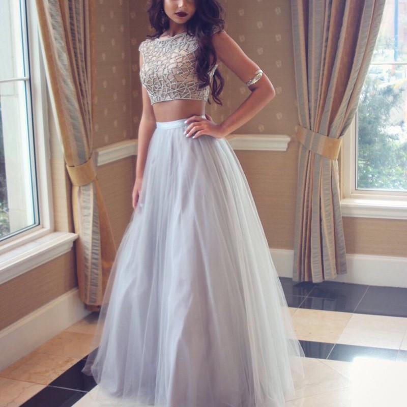 Wedding - Chic Two Piece Silver Prom Dress - Bateau Cap Sleeves Floor-Length with Beading