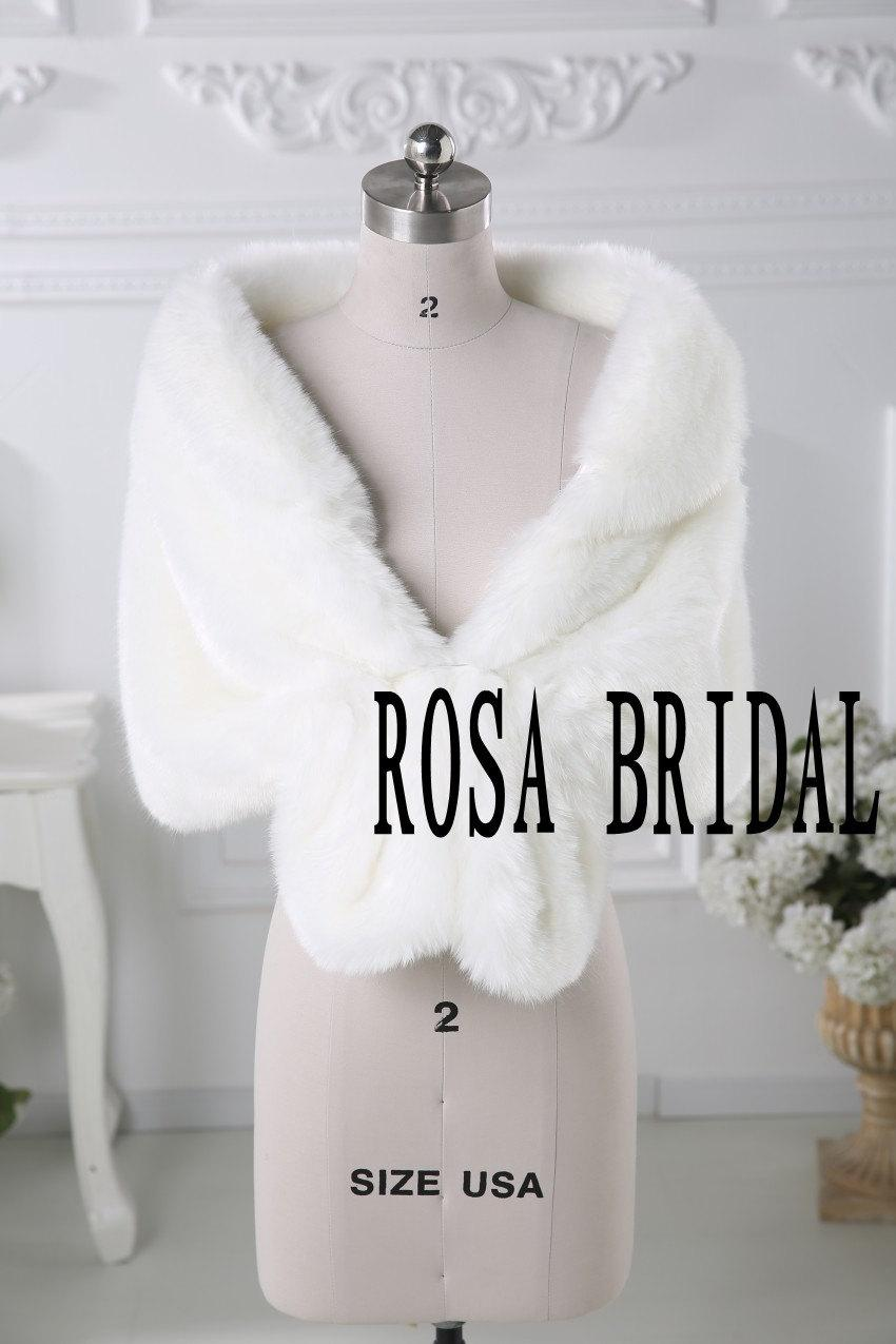 Mariage - Ivory faux fur bridal wrap shrug stole shawl cape wedding faux fur wrap Custom size