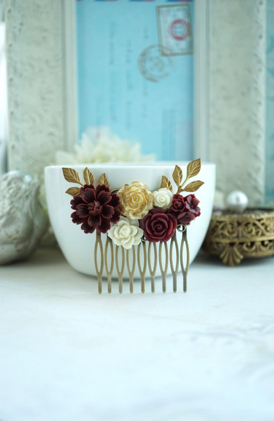 Wedding - Wedding Hair Comb, Burgundy, Ivory Shade Flowers,  Maroon Red and Gold Wedding, Masala Red Ivory Gold Rose Flower Hair Piece Bridesmaids
