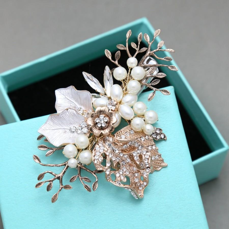 Old Gold Tone Flower Leaves Bridal Hair Clip Faux Pearl Rhinestone Wedding Accessories Style Headpiece Jewelry
