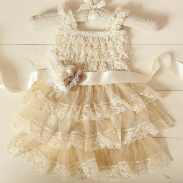زفاف - Rustic Flower Girl Dresses, Country Flower Girl Dress, Burlap Flower Girl Dress, Lace Flower Girl Dress, Rustic Wedding, Sash, Girls Dress