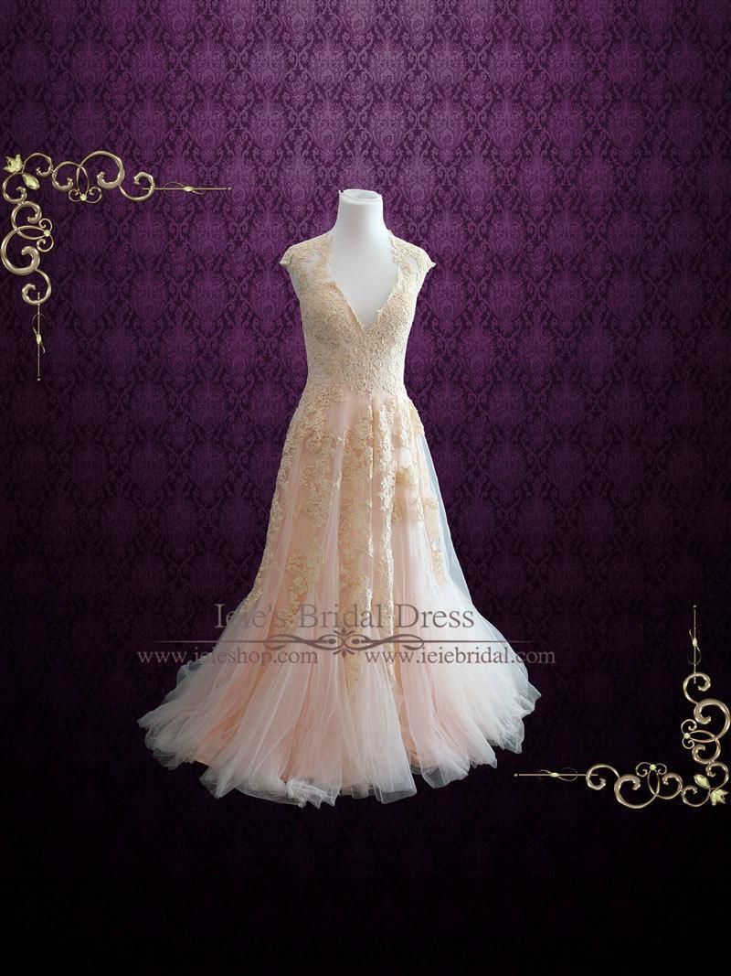 زفاف - Blush Pink Wedding Dress Plunging Neckline