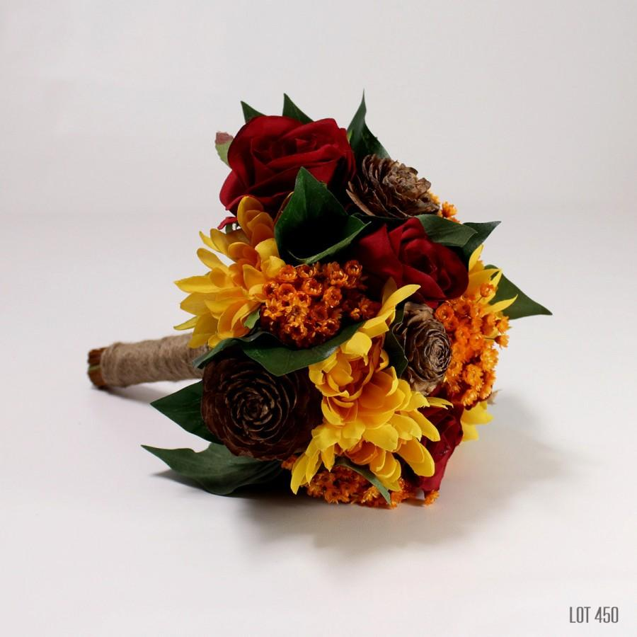 Hochzeit - Bride Bouquet, Bridesmaid Bouquet, Fall Wedding Flowers, Artificial Silks, Dried Flowers, Orange, Red, Autumn Colors, 8 Inch Round Bouqet,