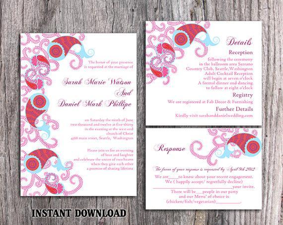 DIY Bollywood Wedding Invitation Template Set Editable Word File