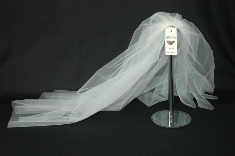 زفاف - Designer Ivory Wedding Veil Any Length Crystal Diamante All Over LBV151 LBVeils UK
