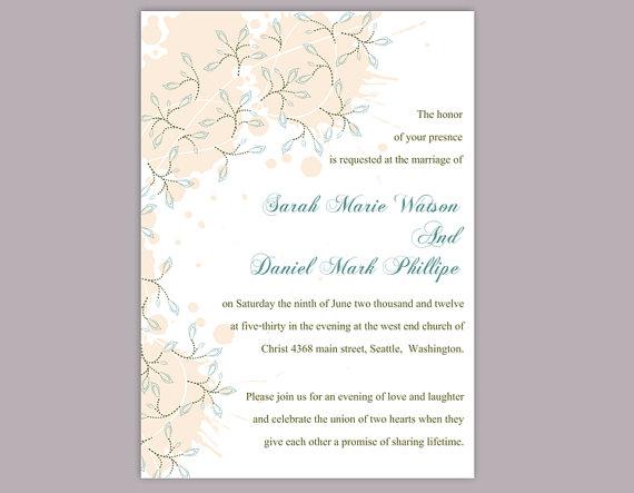 زفاف - DIY Wedding Invitation Template Editable Word File Instant Download Printable Peach Invitation Leaf Wedding Invitation Blue Invitations