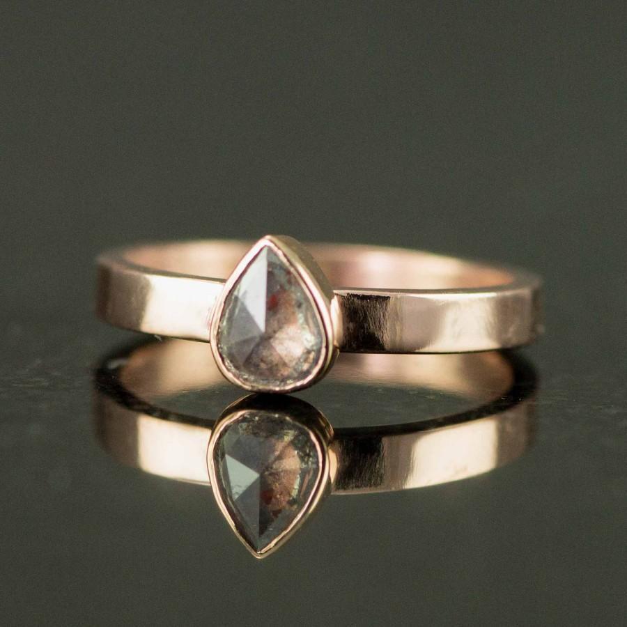 Wedding - Rose Cut Diamond Engagement Ring - Pear Cut Raw Diamond Ring - Custom Made Ring