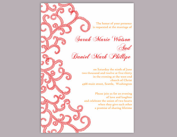 Свадьба - DIY Bollywood Wedding Invitation Template Editable Word File Download Printable Red Wedding Invitation Indian Invitation Bollywood party
