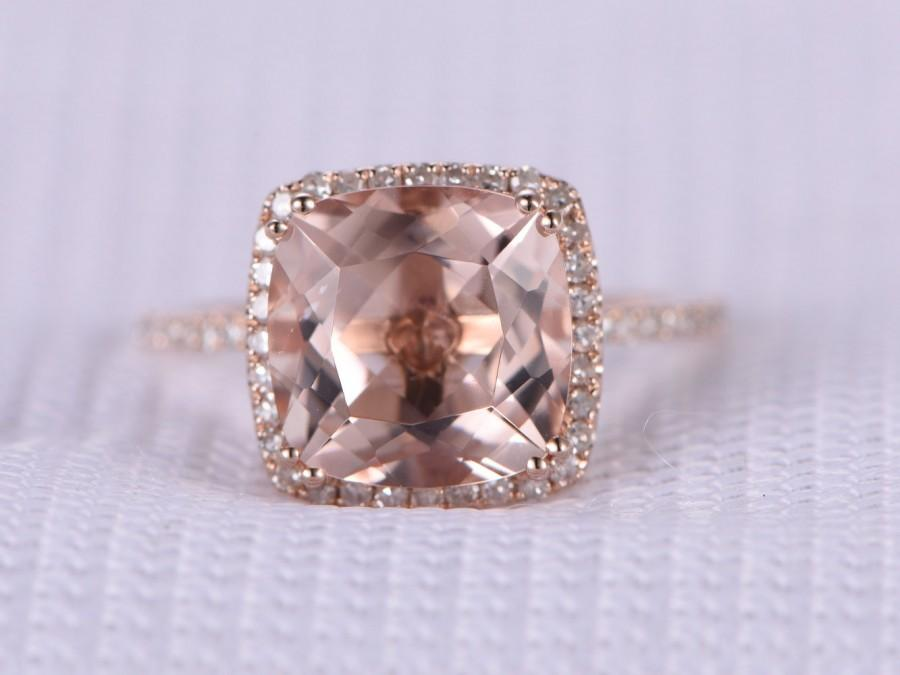 Mariage - 9mm Big Cushion pink morganite Engagement ring,14k Rose gold,gemstone,diamond Wedding Band,halo and 8 prongs,Personalized for her/him,Custom
