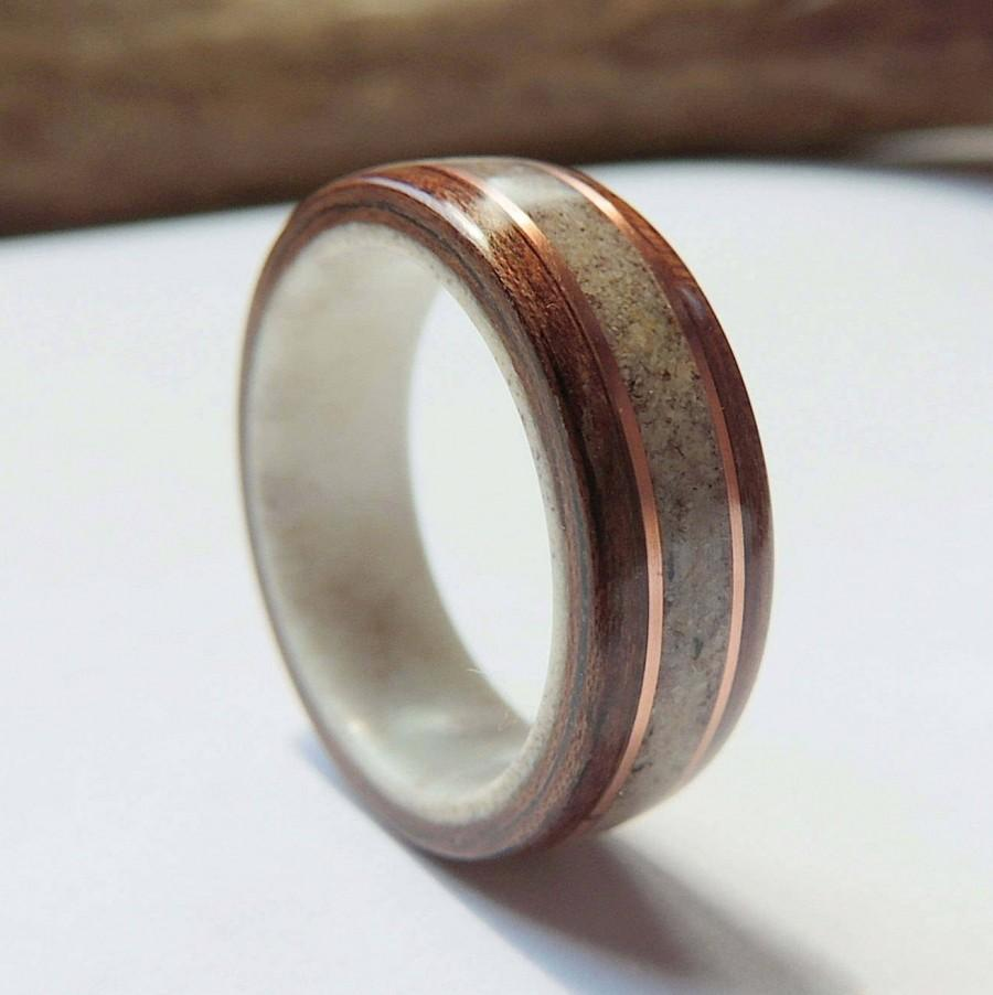 Mariage - Bentwood Ring on Antler Liner,Black Walnut and Deer Antler with Copper,Wooden Wedding Band, Wood Ring, Anniversary