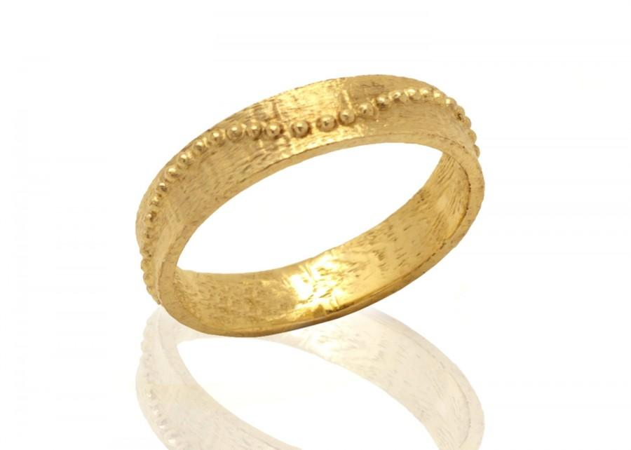 Mariage - 14k Gold wedding band ring - Dainty Gold wedding band decorated with tiny gold balls