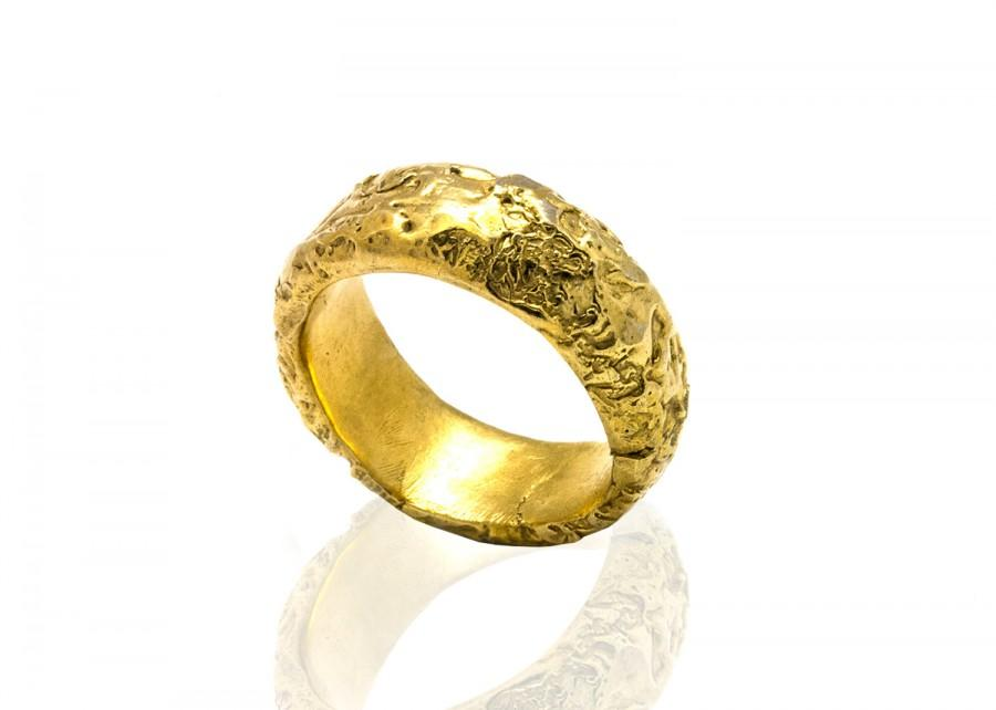 Wedding - Textured gold wedding band - Unisex 14k Gold wedding band ring - Wedding jewelry