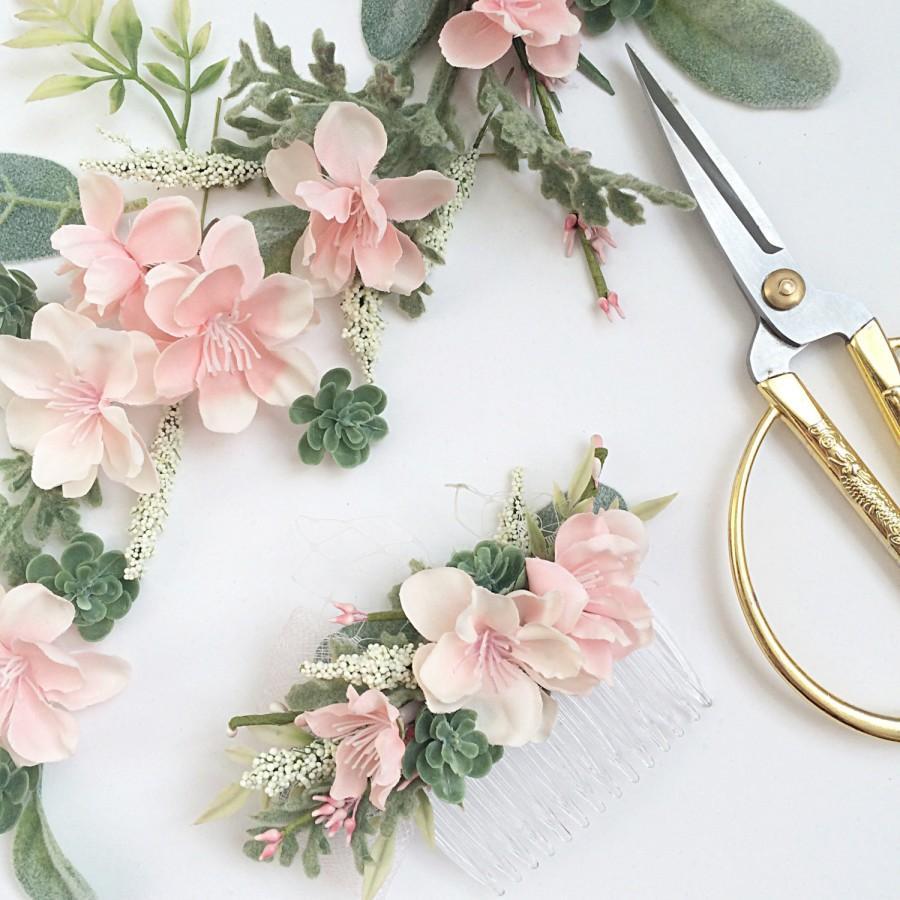 dbf4d0cd3a85d Blush Bridesmaids Comb- Blush Wedding Set- Succulent Comb Hair ...
