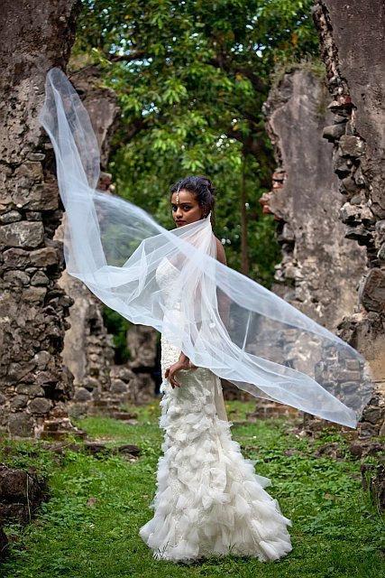 زفاف - Cathedral Wedding Veil Swarovski Crystal Rhinestone with Blusher The Caitlin Veil