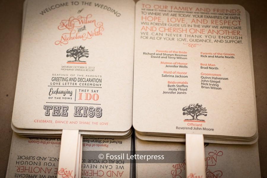Kraft Paper Wedding Program Fans Order Of Service Programs