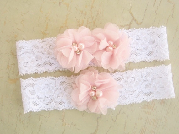 Wedding - Lace Wedding Garter, Ivory Garter Set with Toss Garter, Bridal Garter with Chiffon Blossoms pearls and rhinestones