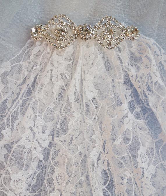 زفاف - Short Bridal Veils, Veils, Veil, Wedding Veil, Lace Wedding Veil, Jeweled Trim Veil, Bridal, Bride Veil, Vintage Lace Veil, Wedding Clothing