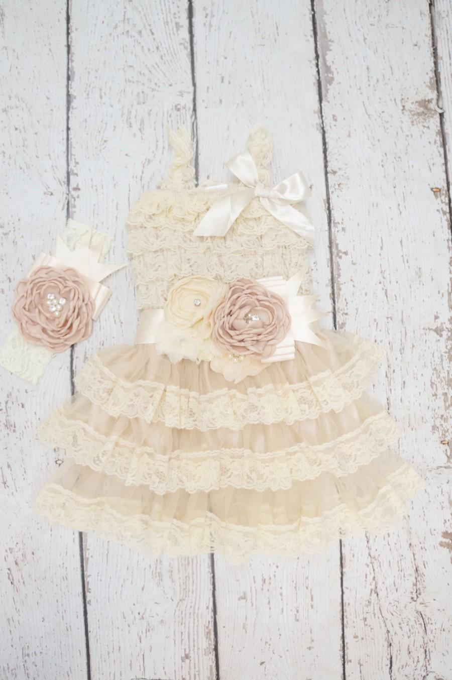 Düğün - lace baby dress, rustic girl dress, flower girl dress, flower girl dresses, lace flower girl dress, country flower girl, champagne dress