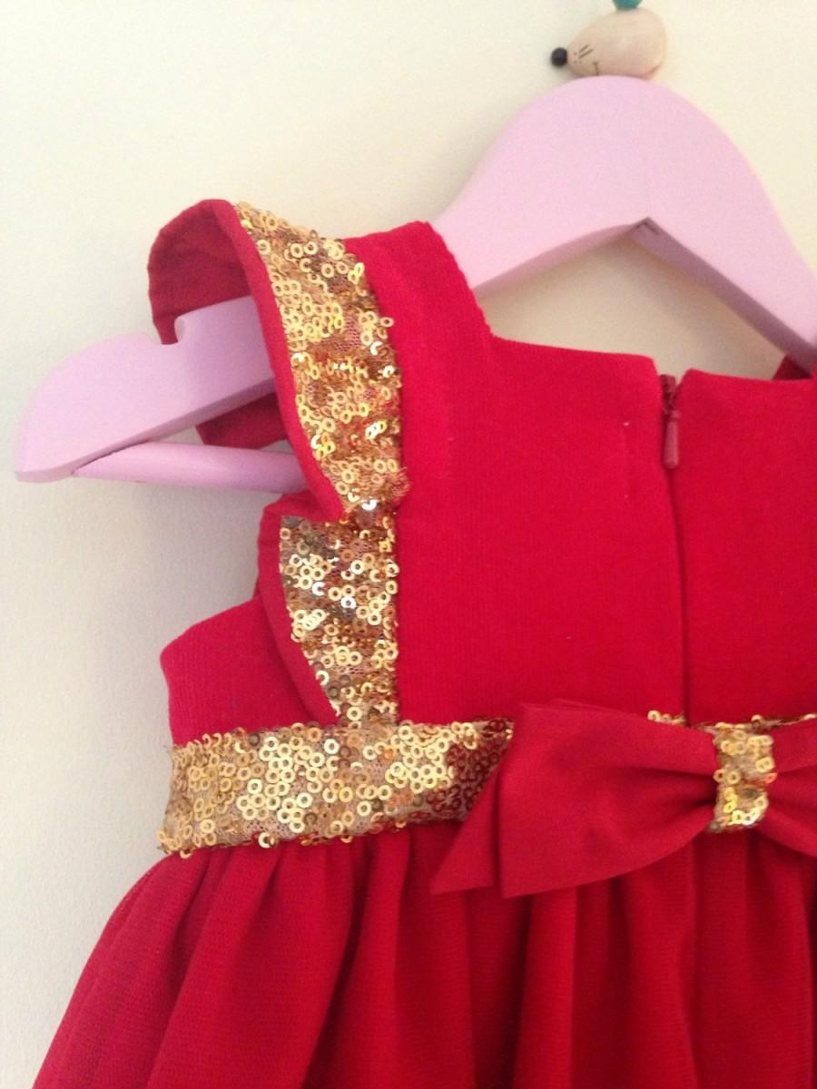 358603b3f Girl's Christmas Dress, Baby Girl's Red Cotton and Gold Sequin Party Dress, Baby  Girl Dress, Special Baby Christmas Dress, Gift For Girls