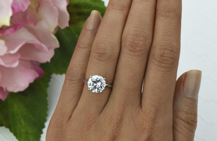 Mariage - 4 ct Classic Solitaire Ring, 4 Prong Engagement Ring, Man Made Diamond Simulant, Wedding Ring, Bridal Ring, Promise Ring, Sterling Silver