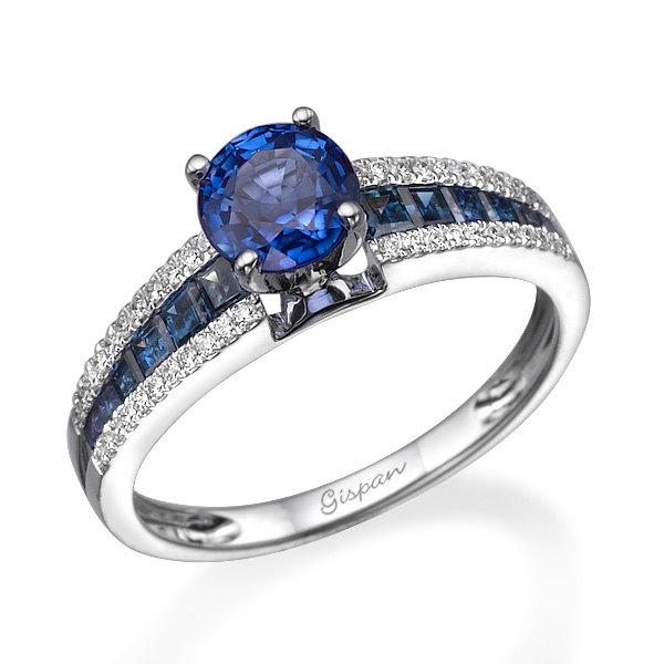 Mariage - Blue Sapphire Engagement Ring, Emerald Cut Ring, White Gold Ring, Solitaire Ring, Diamond Ring, Unique Ring, Gem Ring, Prong Ring