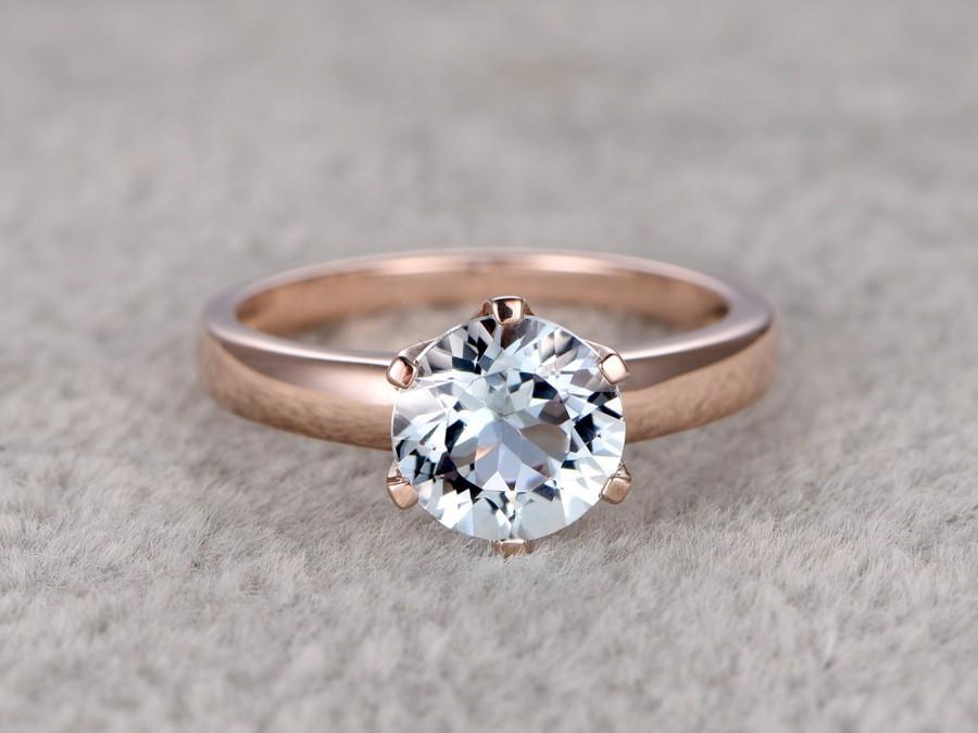 Mariage - 7mm Round Natural Aquamarine Ring!Solitaire Engagement ring Rose gold,Bridal Plain Gold,Blue Stone Gemstone Promise Ring,wedding band