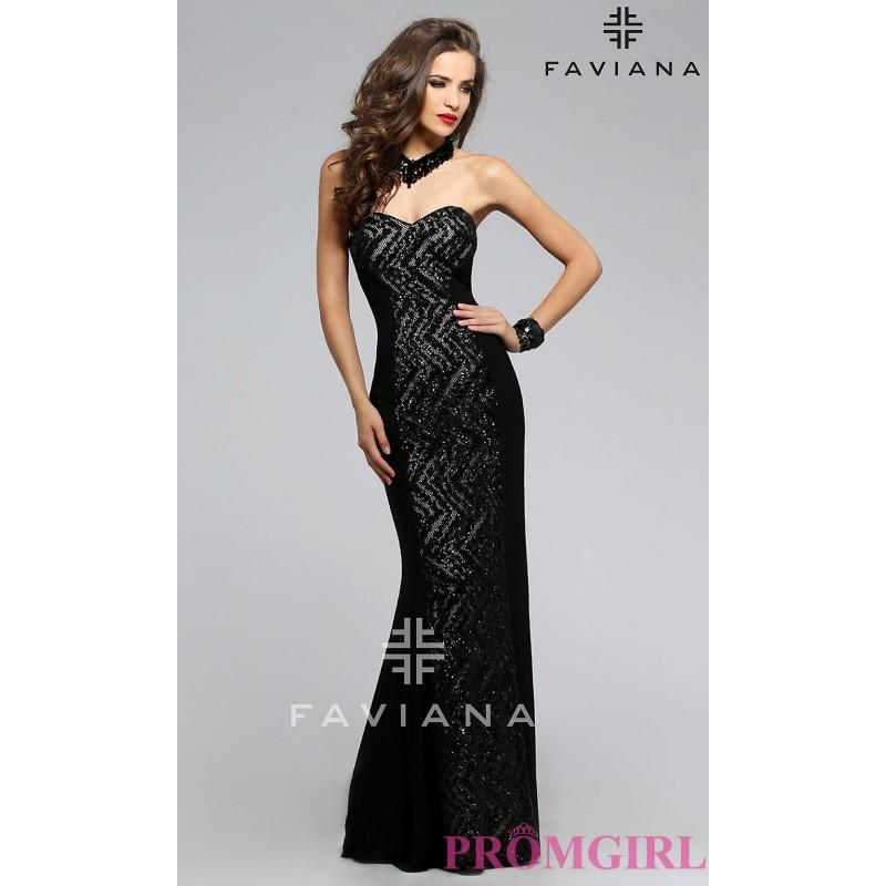 Mariage - Black Strapless Sweetheart Prom Dress by Faviana - Discount Evening Dresses