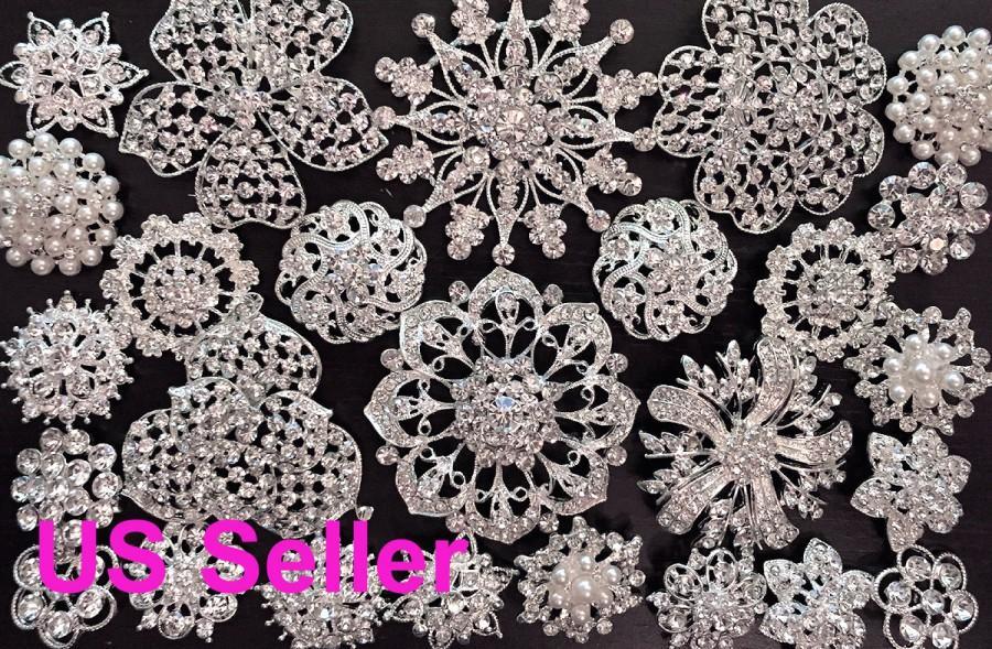 Mariage - SALE 26 pcs vintage style wholesale lot rhinestone crystal button brooch bridal wedding bouquet decoration DIY kit BR667