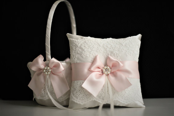 Mariage - Off-white Pink Flower Girl Basket   Ring Bearer Pillow Set  Petal Pink Wedding Basket & Wedding Ring Pillow  Blush Pink Basket Pillow Set