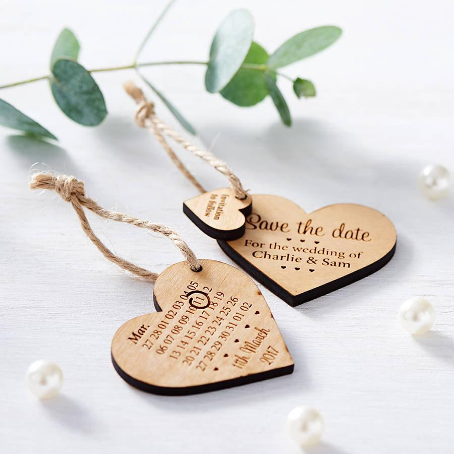 Hochzeit - Save The Date Wooden Heart