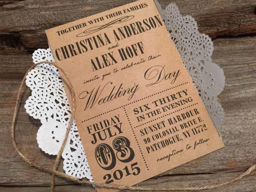 Hochzeit - Rustic Wedding Invitation,Vintage Wedding Invitation,Country Wedding Invitation,Doily Wedding Invitation,Kraft Wedding Invitation