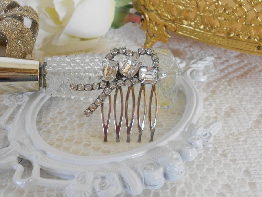 زفاف - Crystal Hair Comb, Art Deco Hair Comb, Bridal Hair comb, Upcycled Vintage, Small Hair Comb, Rhinestone Hair Comb, Wedding Hair Jewelry