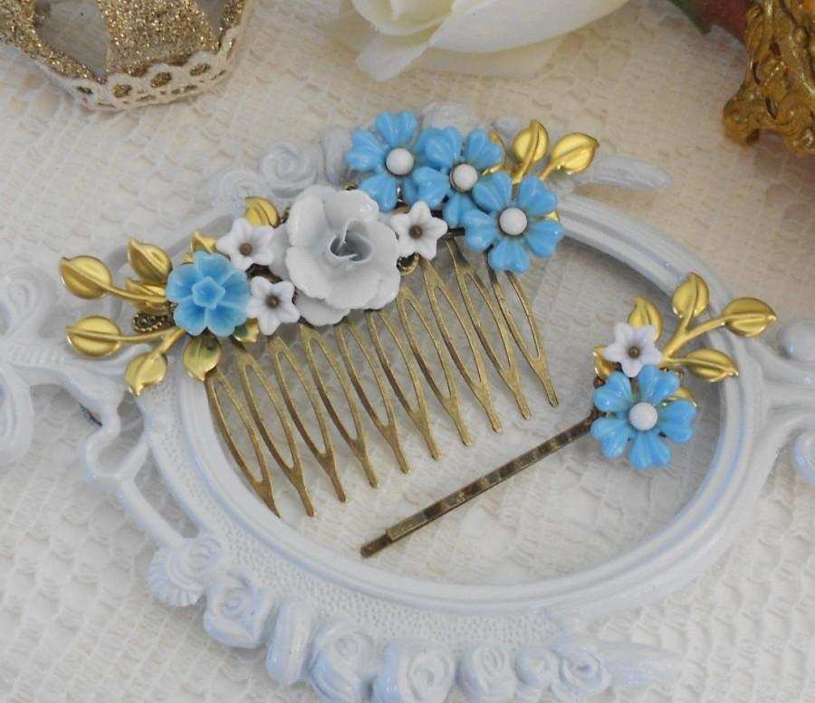 Свадьба - Bridal Hair Comb, Floral Hair Comb, Bridal Headpiece Set, Something Blue, Wedding Hair Comb, Bridal Hair Pin, Hair Pin and Comb Set