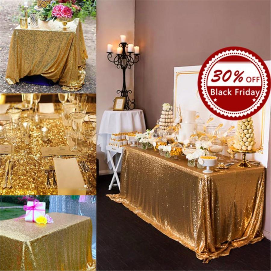 زفاف - 10% OFF, Gold Sequin Rectangular Tablecloth, Custom colors and size.