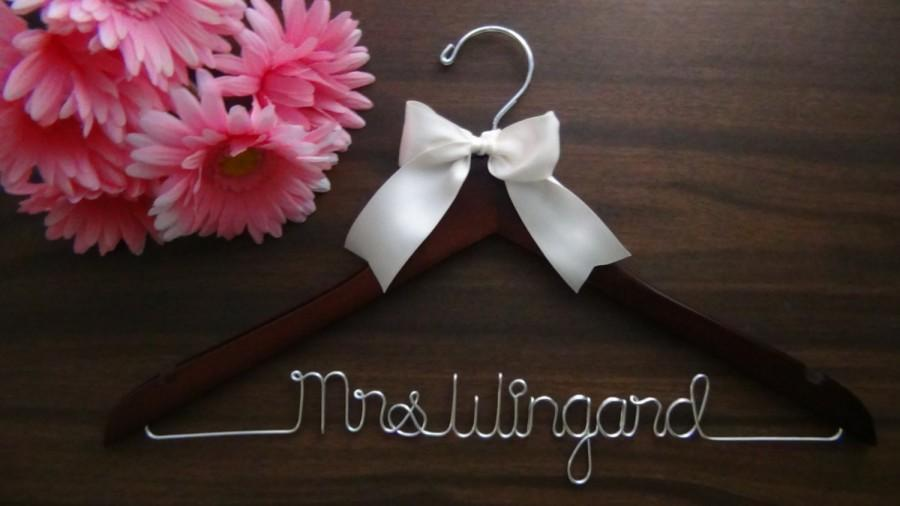 Wedding Dress Hanger, Bride Hanger, Last Name Hanger, Mrs