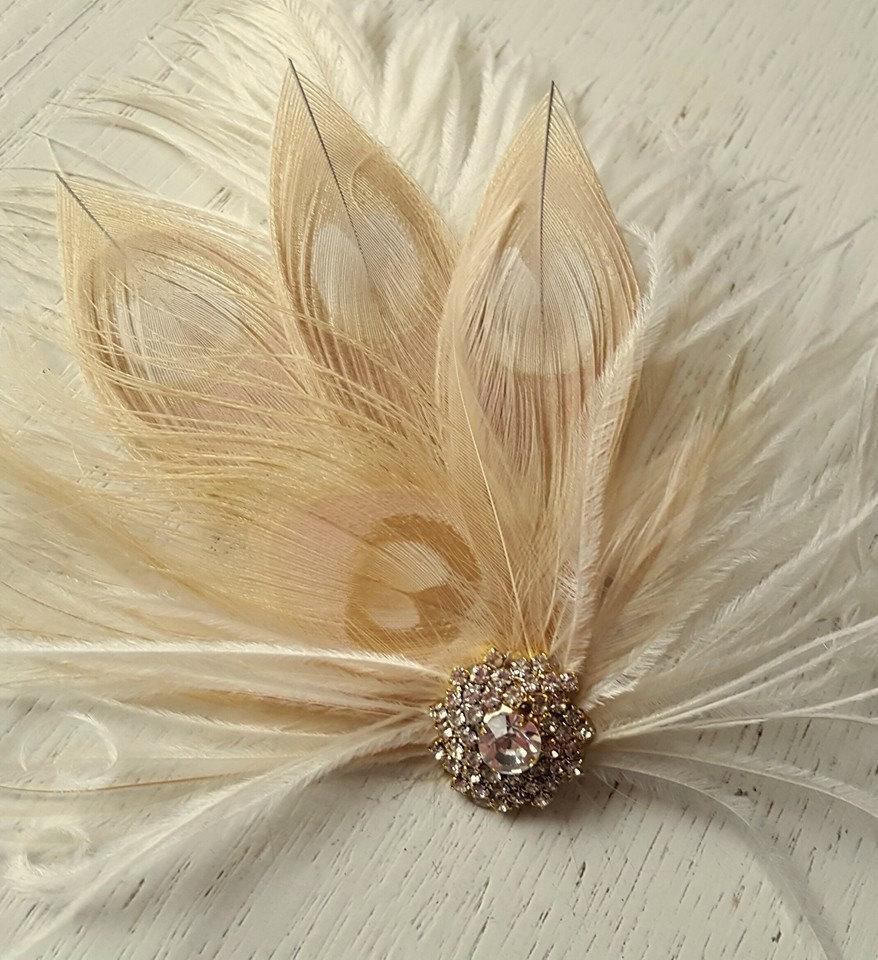 زفاف - Champagne Ivory Feather Fascinator, Wedding Hair Accessories, Bridal Hair Fascinator,Vintage Style Fascinator, Great Gatsby, Bridal Comb,