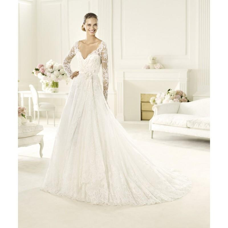 Wedding - Exquisite A-line V-neck Long Sleeve Hand Made Flowers Sweep/Brush Train Lace Wedding Dresses - Dressesular.com