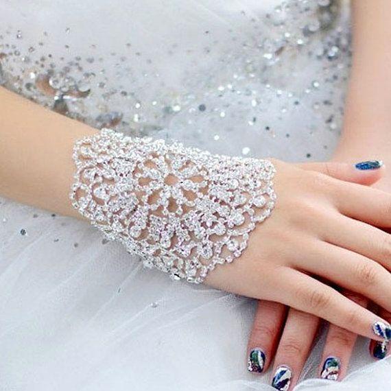 زفاف - Silver Swarovski Preciosa Crystal Adjustable Rhinestone Bracelet Arm Armlet Bangle Bridal Wedding Jewelery Gift
