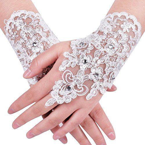 زفاف - Lace Fingerless Rhinestone Bridal Gloves