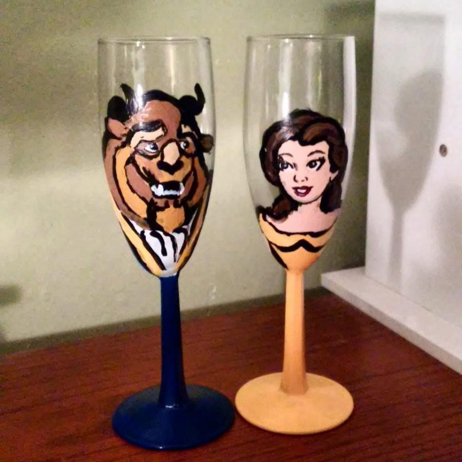 Hochzeit - Beauty and the Beast Wedding Champagne Flutes , Disney Wedding, Belle, Personalize for free /Wedding Toast Glasses