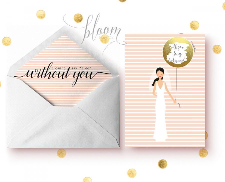 زفاف - Gold Foil scratch off Bridesmaid invitations, Will you be my bridesmaid?