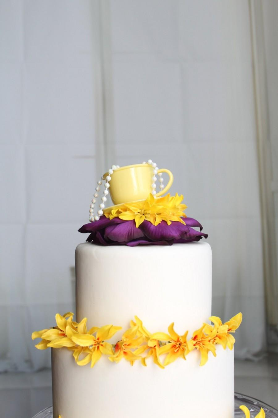 زفاف - Teacup Party Cake Topper (Yellow & Purple), Tea Party, Wonderland, Flower, Pearl, OverTheTopCakeTopper