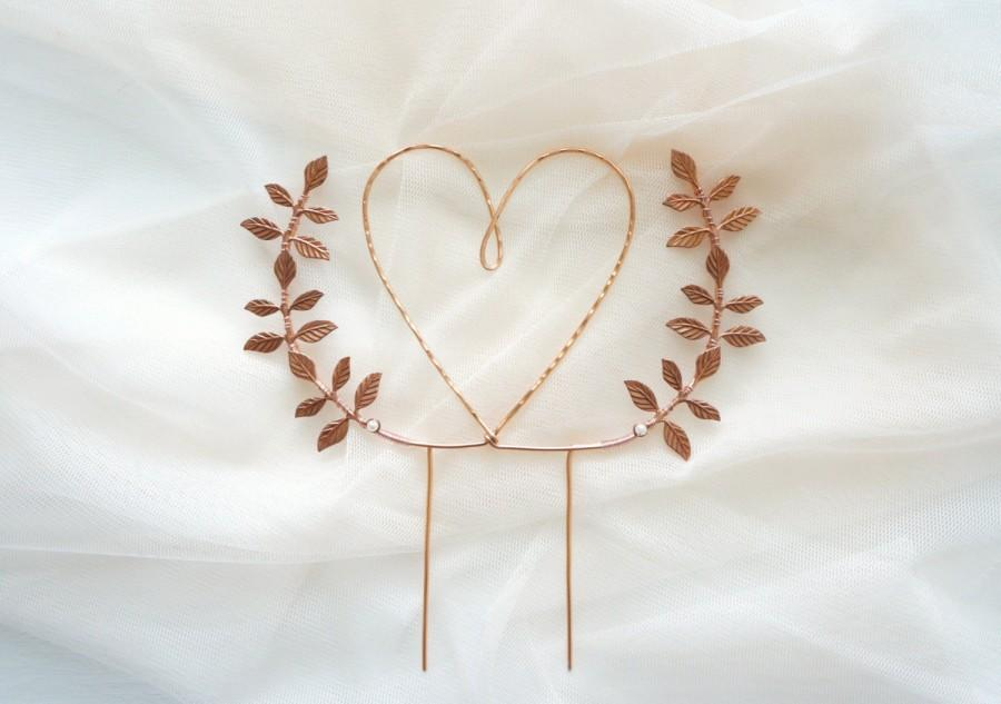 Mariage - Rose gold heart wedding cake topper, Heart and leaves cake topper, Woodland cake topper, Rustic chic wedding, Woodland, Copper cake topper