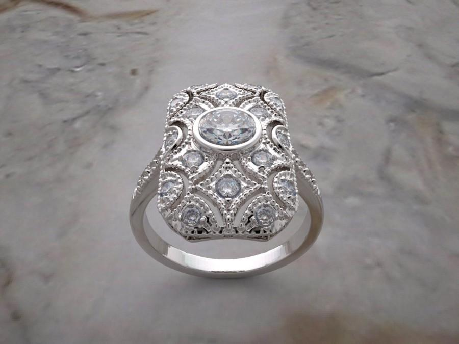 Mariage - Vintage Art Deco Style Diamond Engagement Ring With Mil Grain Detail T.C.W. 0.91 Ct., Made In The U.S.A.