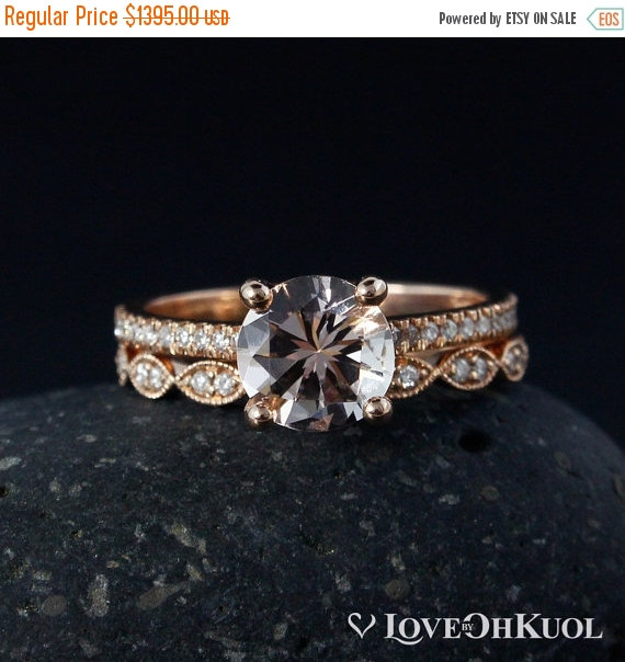 33522ec64c6 BLACK FRIDAY SALE Solitaire Pink Morganite Engagement Ring – Half-Eternity  Double Leaf Milgrain Diamond Wedding Band