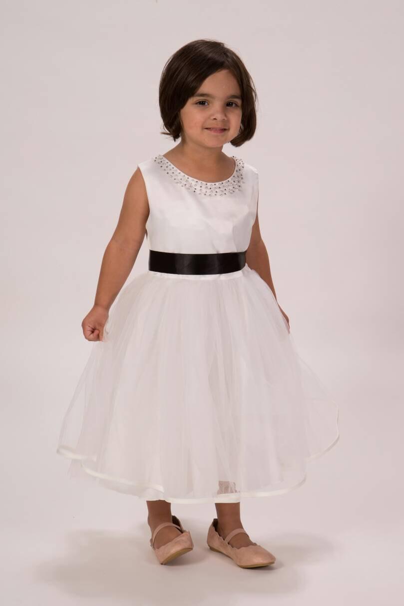 Beautiful White Flower Girl Dress Beaded Neckline White Tulle Dress