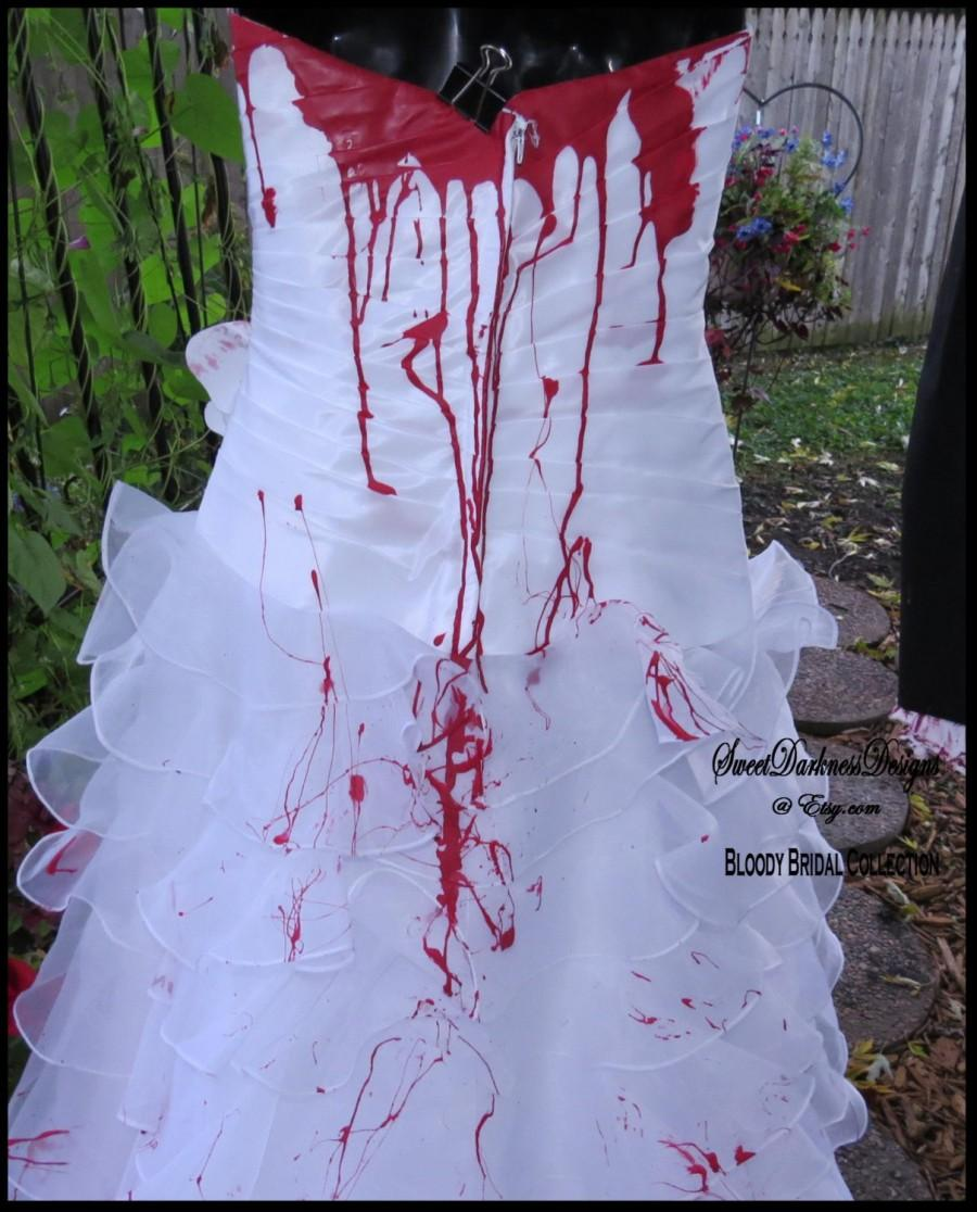 Hochzeit - ZOMBIE BRIDE Zombie Bridal Gown Costume Bloody Bride Zombie Halloween Bride Size 4 Tim Burton Wedding Corpse Bride by ZombieBrideUSA