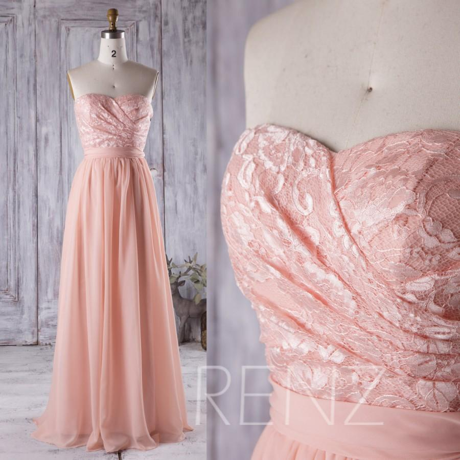 Hochzeit - 2016 Peach Bridesmaid Dress, Lace Sweetheart Wedding Dress, Strapless Prom Dress, Long Chiffon Prom Dress Floor Length (C005)