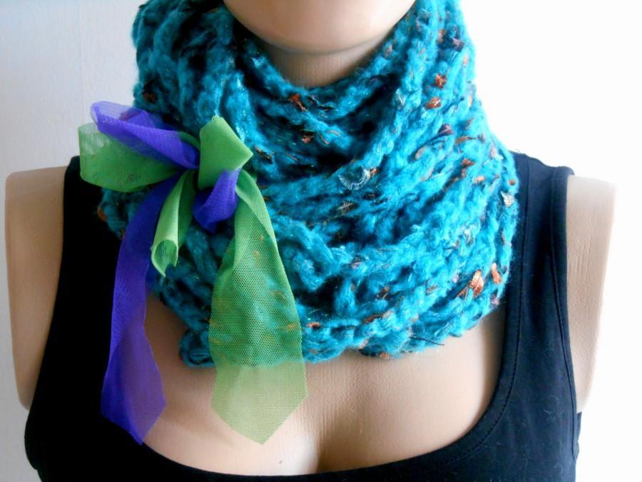 Mariage - Infinity Scarf, Knitting Scarf, Crochet Scarf, Boho Knit, Chunky Scarf, Handmade Scarf, Turquoise Scarf, Loop Scarf, Boho Scarf