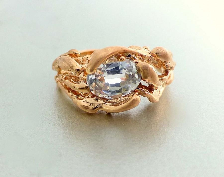 Mariage - Modern Engagement ring. Unique engagement ring. 14k rose gold water ring. Oval white sapphire ring.